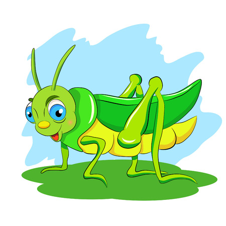 Cartoon funny green grasshopper.