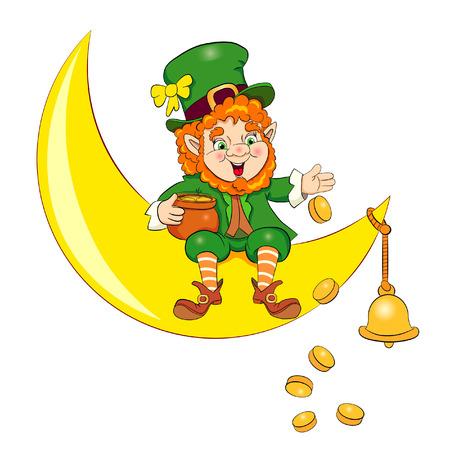 Leprechaun seduto sulla luna e disperde le monete dalla pentola. Vettoriali