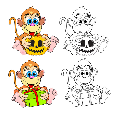Funny Monkey With Insertions And Christmas Toy. Color Picture ...