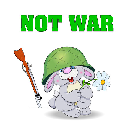 no war: Poster - Not War. Little funny hare in the military helmet holding chamomile flower and smiling, near the hare safe rifle.
