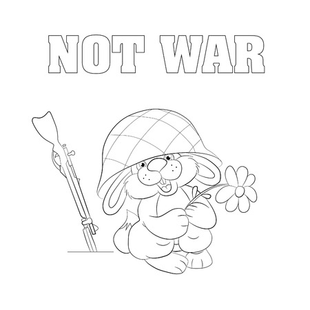 chamomile flower: Poster - Not War. Little funny hare in the military helmet holding chamomile flower and smiling, near the hare safe rifle. Coloring book.