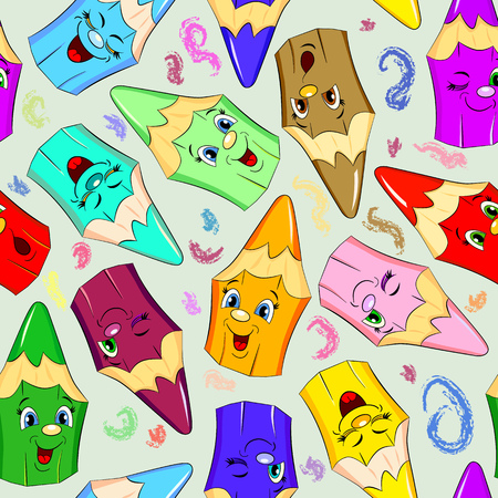 emotions faces: Cartoon seamless pattern with different funny pencil.
