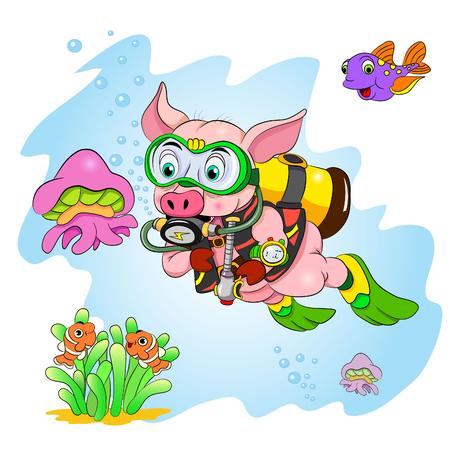 Funny cartoon pig diver looking at jellyfish.