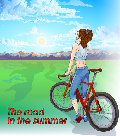 activity cartoon: Summer morning. The girl is going to hit the road on a bicycle. Ahead of meadow and mountain. Illustration of a healthy lifestyle.