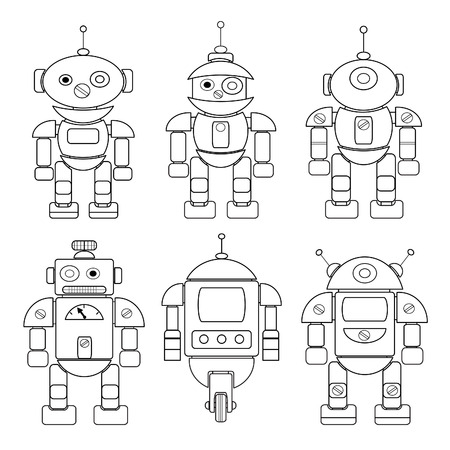 Cartoon Robot With Antennas. Coloring Book. Royalty Free Cliparts ...