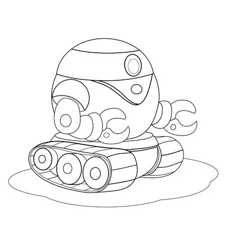 crawler: Cartoon robot crawler repair. Coloring book. Illustration