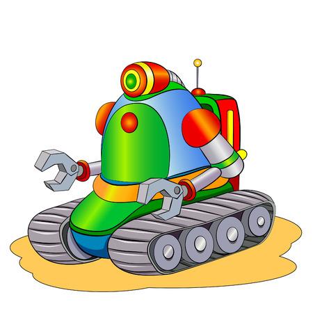 crawler: Cartoon robot crawler repair.
