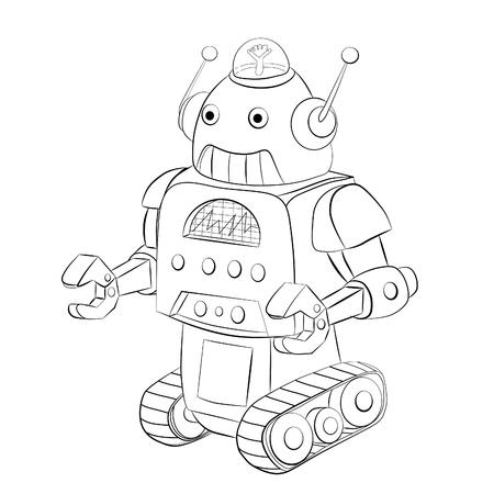 crawler: Cartoon robot crawler. Coloring book.