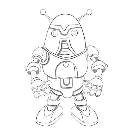 antennas: Cartoon robot  with antennas. Coloring book.