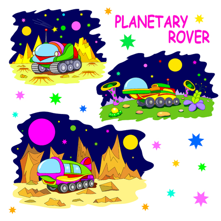 lunar rover: Set of tree illustrations cartoon planetary rovers.