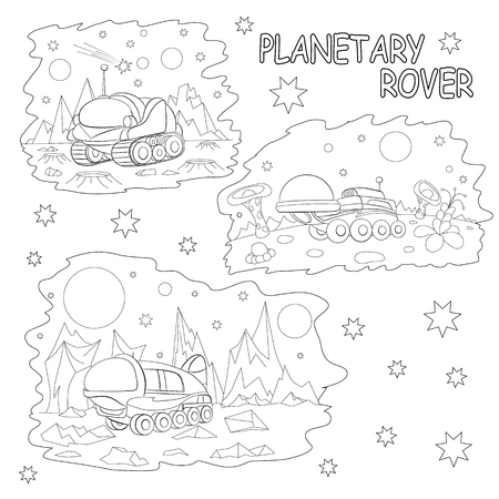 planetary: Coloring book. Set of tree illustrations cartoon planetary rovers.