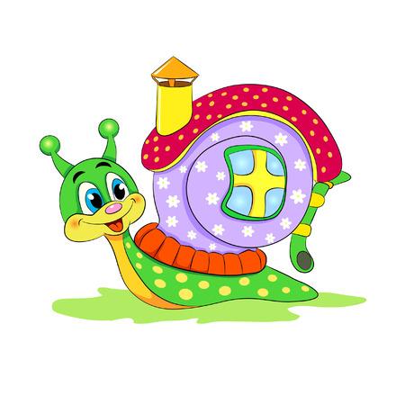 Cartoon funny snail with house.