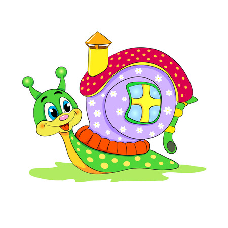 Cartoon funny snail with house.