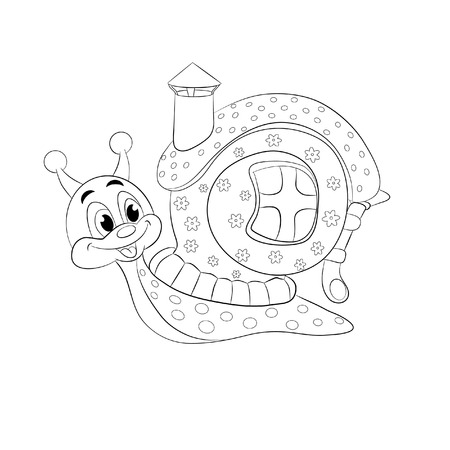 cochlea: Cartoon funny snail with house. Coloring book.