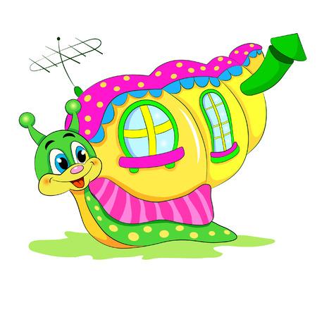 cochlea: Cartoon funny snail with house.