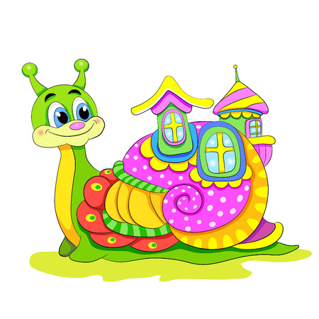 the cochlea: Cartoon funny snail with house.