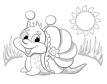 jardines con flores: caracol divertido de dibujos animados. Libro de colorear.