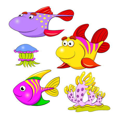 molluscs: Cartoon set of funny fishes, jellyfish and mollusc. Illustration
