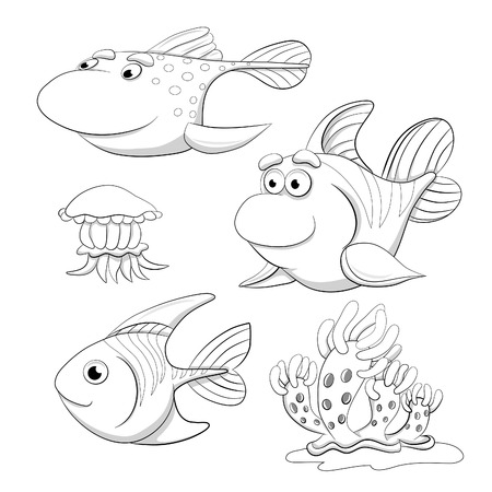 mollusc: Cartoon set of funny fishes, jellyfish and mollusc. Coloring book.