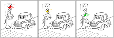 kiddie: Fun rules at traffic lights directions for a fun car. Red light - there is no road. Yellow light - attention. Green light - Pass. Coloring book. Illustration