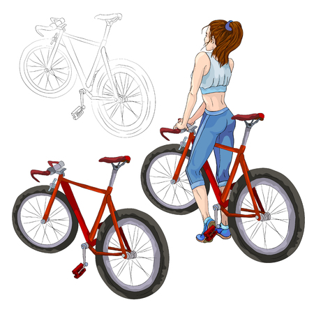 beautiful teen girl: Illustration. Girl and bicycle. Healthy lifestyle and sport.