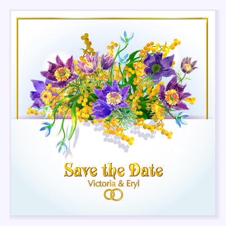 snowdrops: Save The Date or Wedding Invitation With Bouquet of Spring Flowers: sleep-grass, mimosa, snowdrops. Illustration