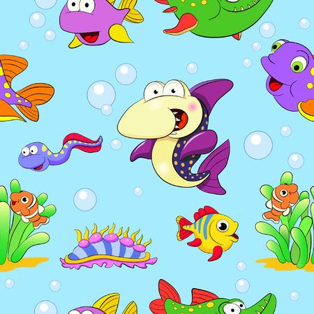 shellfish: Cartoon funny shark, color fishes and shellfish. Seamless pattern.