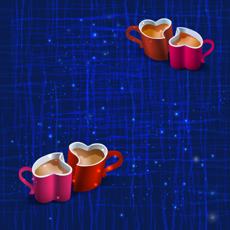 Seamless dark blue texture with wavy lines intersecting and light stars with red cup in the shape of heart. Vector abstract background.