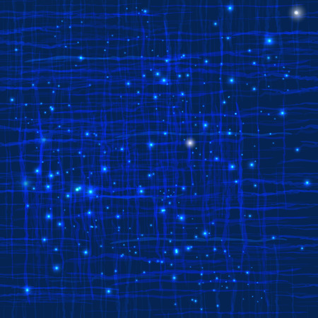 Seamless dark blue texture with wavy lines intersecting and light stars. Vector abstract background. Copy that square to the side,you'll get seamlessly tiling pattern which gives the resulting image. Ilustração