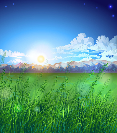 elevate: Vector landscape with mountain ranges, clouds, stars and sun shining. Tall grass.