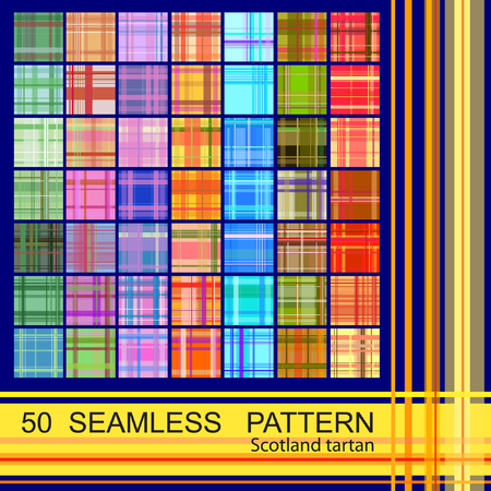 Set from 50 seamless pattern of scotland tartan. Copy that square to the side,you'll get seamlessly tiling pattern which gives the resulting image the ability to be repeated or tiled without visible seams.