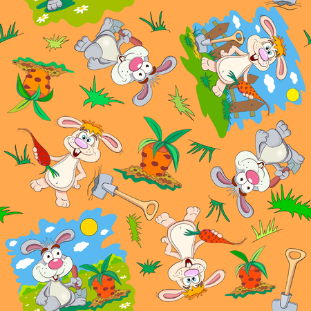 cartoon carrot: Cartoon rabbit-farmer with a shovel is going to dig carrots. Seamless pattern.