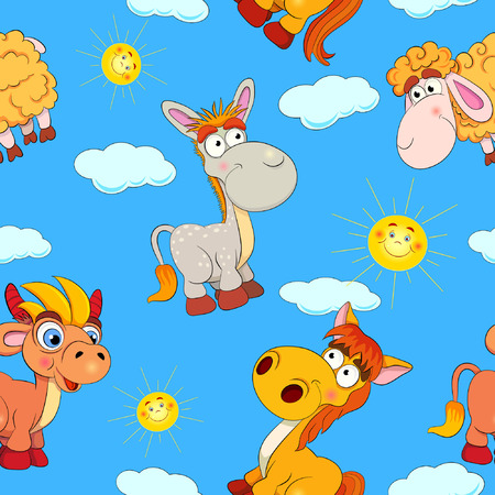 character traits: Cartoon merry horse, bull, donkey and ram on background with suns and clouds. Seamless pattern.