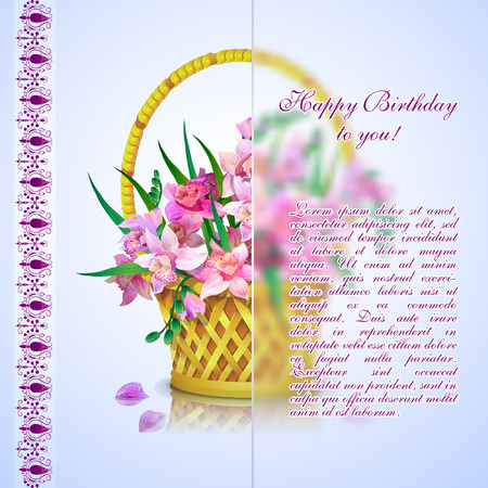 Basket with a bouquet of pink orchids. Happy Birthday card.