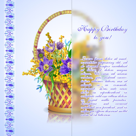 Basket with a bouquet of spring flowers: sleep-grass, snowdrops, mimosa. Happy Birthday card.