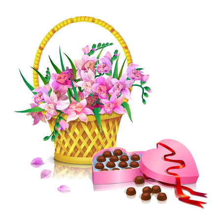 Basket with a bouquet of pink orchids and an open heart shaped box of chocolates on white background.