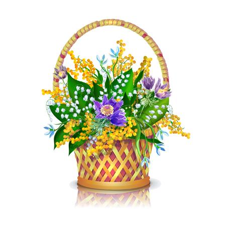 Mand met een boeket van de lentebloemen: slaap-gras, sneeuwklokjes, mimosa, lelie van de vallei.