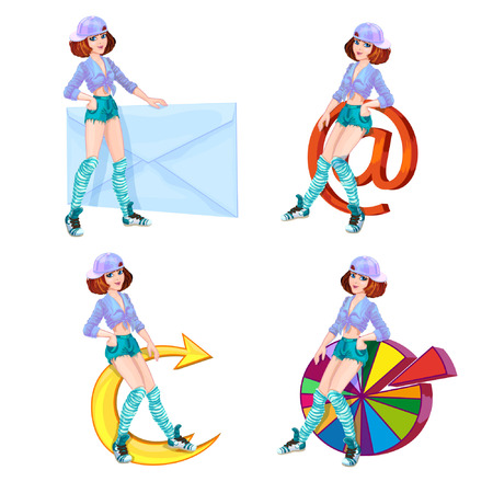 friend chart: Four bright character teenager girl in stylish clothes youth with mail, diagram, envelope and arrow.