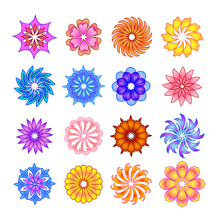 abstract symbolism: Set of color flower icons.