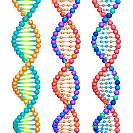 genetic modification: Three colored types of DNA molecules. Illustration