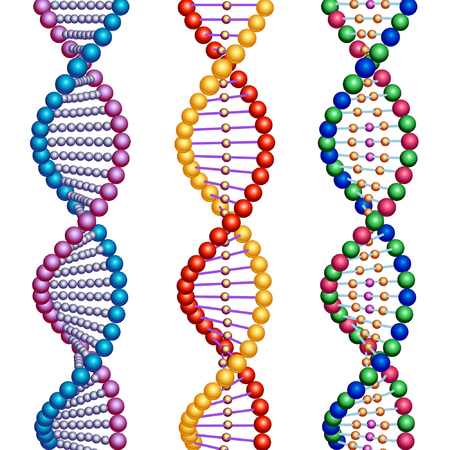 illustrate: Three colored types of DNA molecules. Illustration