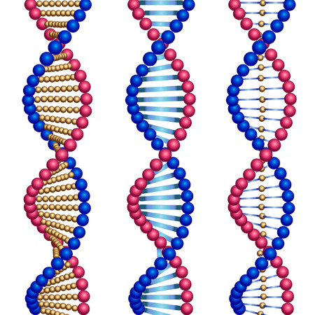 three colored: Three colored types of DNA molecules. Illustration