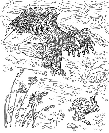 coloring sheet: Eagle hunting wild hare. Coloring book for adults.