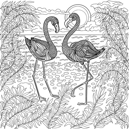 coloring sheet: Hand drawn birds - flamingos in a branches tree on the sea beach. Coloring page.
