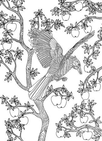 printable coloring pages: Hand drawn bird - Raven on a branch apple-tree. Coloring page. Illustration