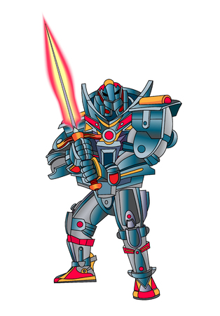 Robot cyborg with weapons in the form of Fire sword. White background. Vector illustration.