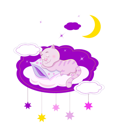 cat sleeping: Funny cartoon cat sleeping on a cloud under the stars and the moon.