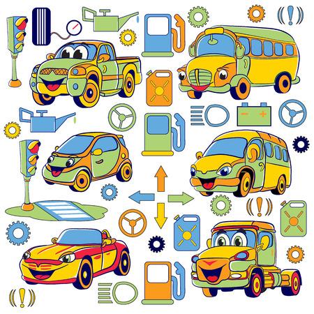 camion caricatura: Conjunto de coches de dibujos animados divertidos y objetos relacionados.