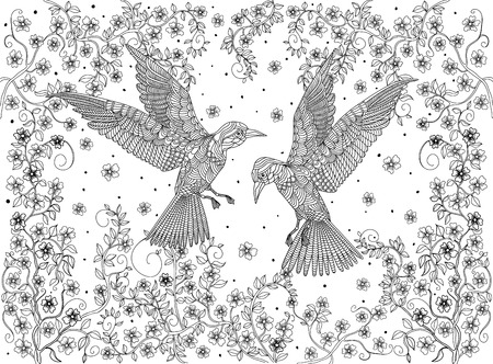 printable coloring pages: Hand drawn birds on a branch of a blossoming tree. Coloring page. Illustration