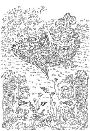 手を波のように描かれたザトウクジラと海藻、高詳細は、ページを着色をストレス パターンの背景に分離されました。  イラスト・ベクター素材
